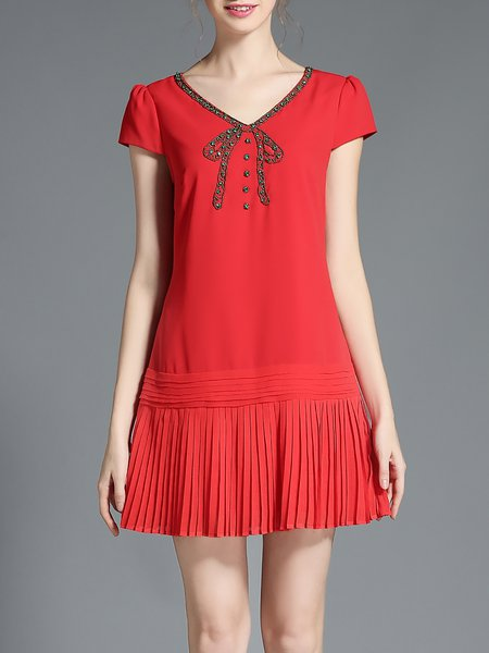 Red V Neck Polyester Casual A-line Mini Dress