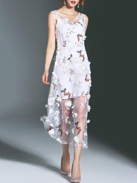 White Beach Floral V Neck Appliqued Two Piece Midi Dress