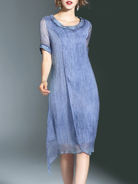 Blue Short Sleeve A-line Crew Neck Embroidered Midi Dress