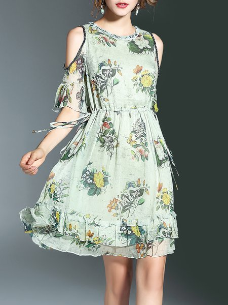 Multicolor Cutout Sweet Flounce Floral Midi Dress