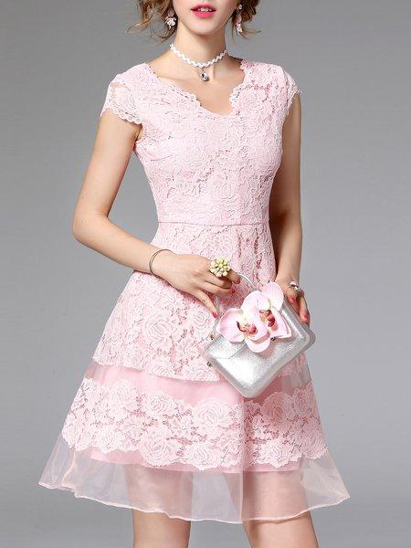 Pink Floral Organza Sexy A-line Mini Dress