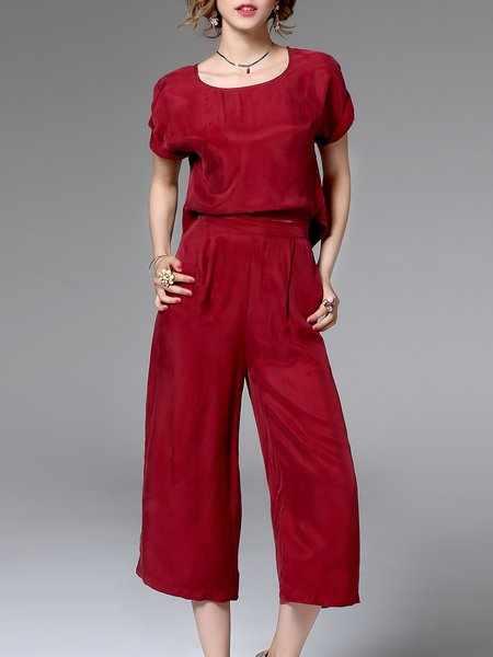 Work Crew Neck Zipper Short Sleeve Plain Jumpsuit