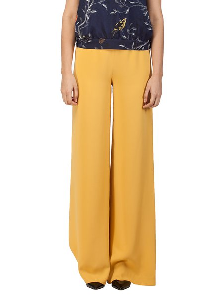 Yellow Plain Work Wide Leg Pants