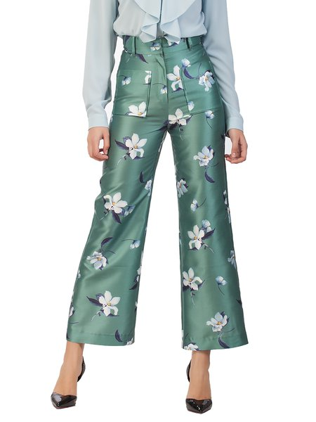 Green Floral Work Polyester Wide Leg Pants