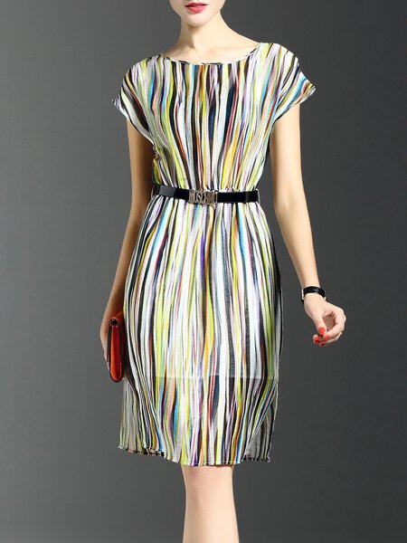 Multicolor H-line Short Sleeve Crew Neck Midi Dress