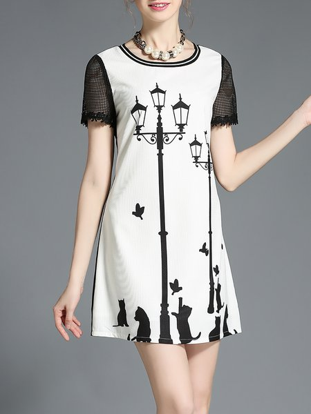 White Shift Crew Neck Short Sleeve Printed Mini Dress