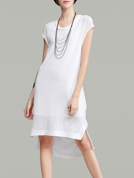 Asymmetric Short Sleeve High Low Plain Simple Midi Dress
