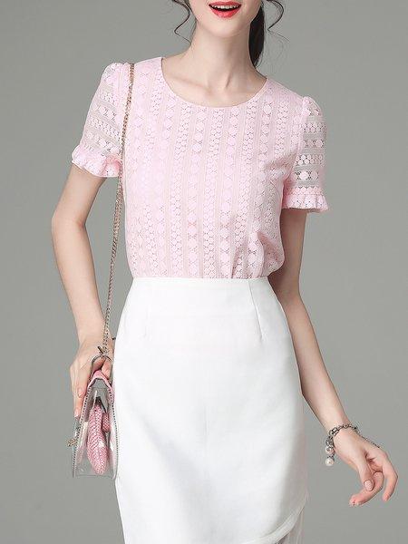 Pink Sweet Cutout Short Sleeved Top