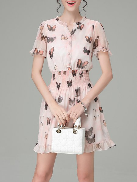 Pink Short Sleeve Printed A-line Mini Dress