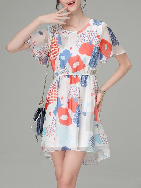 White Crew Neck Printed Short Sleeve Mini Dress
