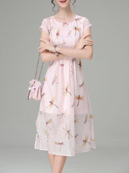 Pink Swing Crew Neck Short Sleeve Midi Dress