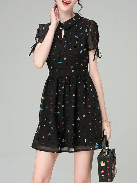 Printed A-line Sweet Short Sleeve Mini Dress