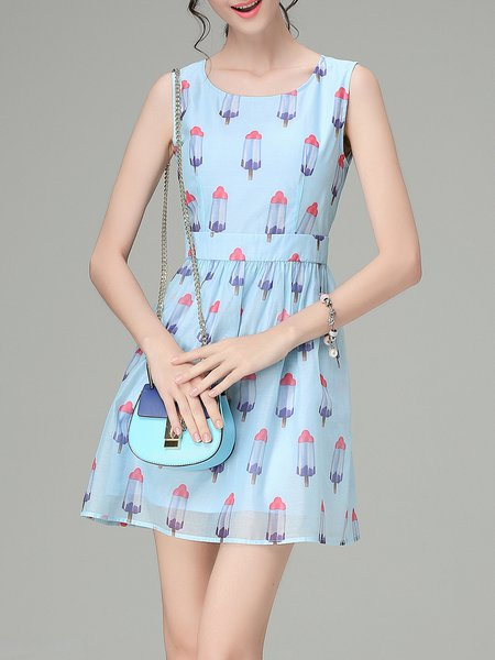Blue Printed Sleeveless A-line Mini Dress