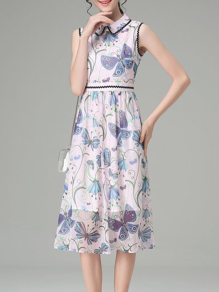 Floral-print Sleeveless Girly Midi Dress