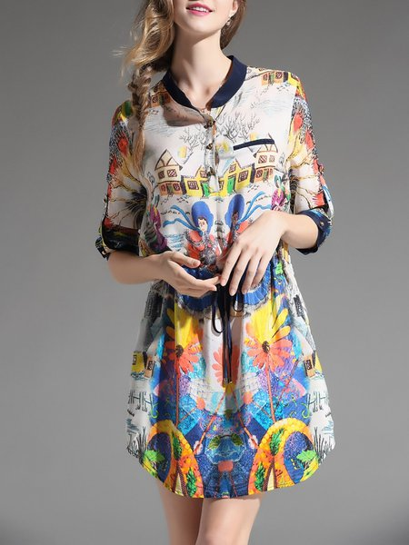 Multicolor Printed 3/4 Sleeve Silk Mini Dress