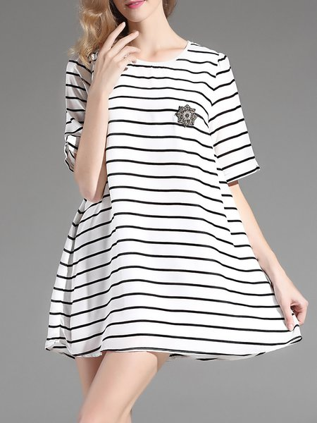 White Shift Silk Crew Neck Short Sleeve Mini Dress