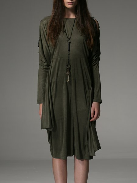 Green Long Sleeve Crew Neck Midi Dress