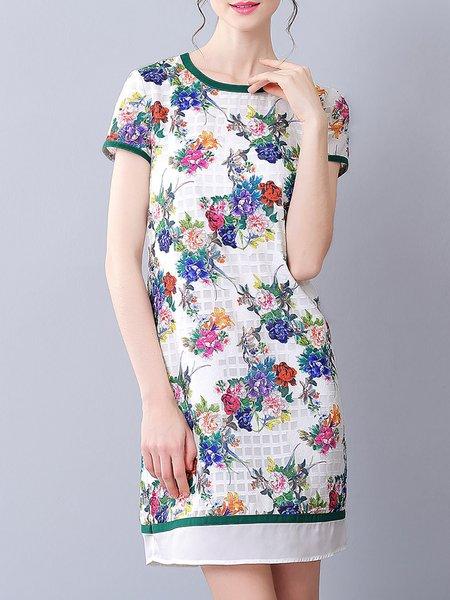Multicolor Jacquard Casual H-line Mini Dress