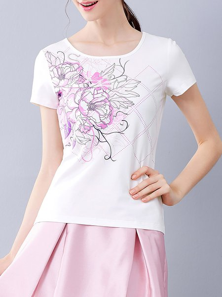White Floral Cotton-blend Short Sleeve T-Shirt