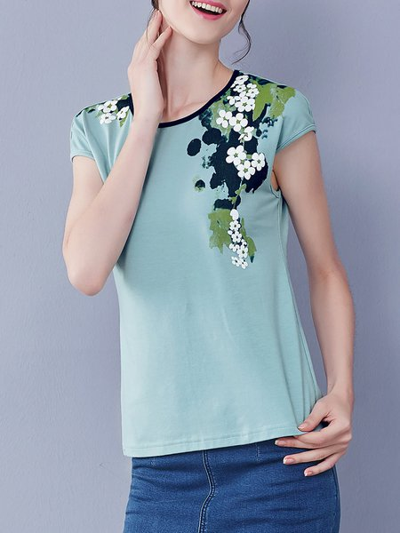 Light Green Floral-print Simple T-Shirt