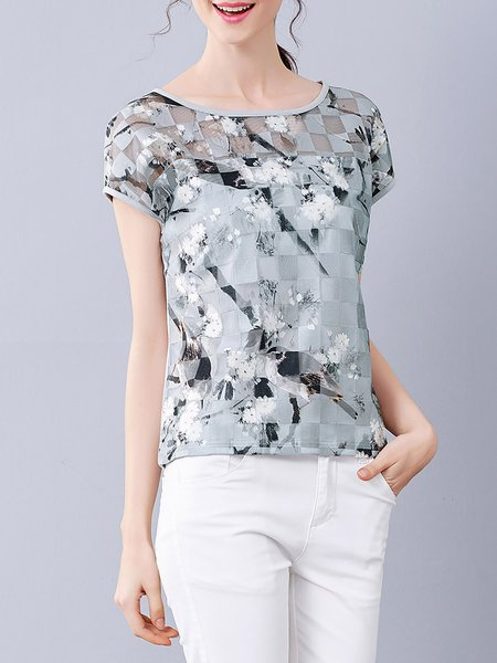 Printed Casual Bateau/boat Neck Short Sleeved Top