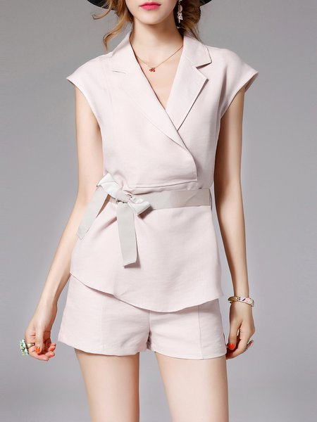 Pink Two Piece Work Linen Romper