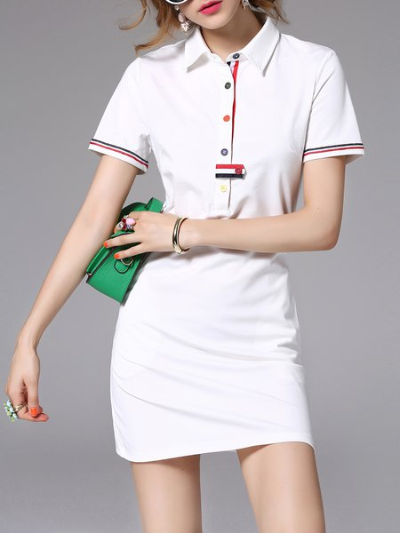 White Casual Shirt Collar H-line Mini Dress