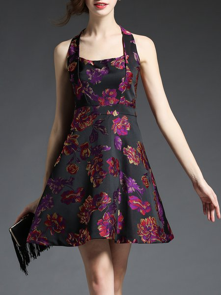 Floral Sleeveless Sexy Halter Mini Dress