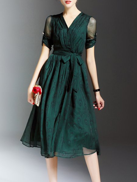 Green Chiffon Swing Midi Dress with Belt
