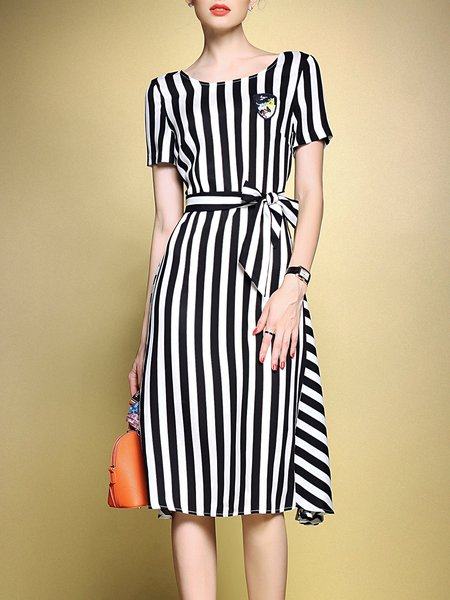 Black Short Sleeve Printed Crew Neck Stripes Midi Dress