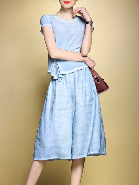 Sky Blue Short Sleeve Two Piece Gathered Jumpsuit