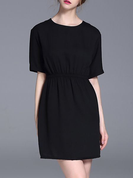 Black Plain Simple H-line Mini Dress