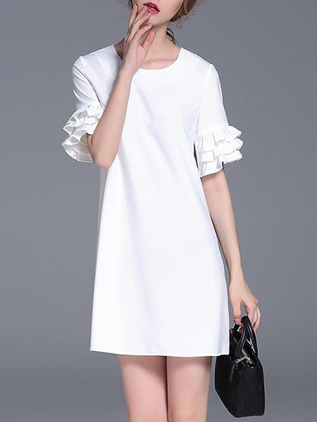 White Ruffled Plain Simple Mini Dress