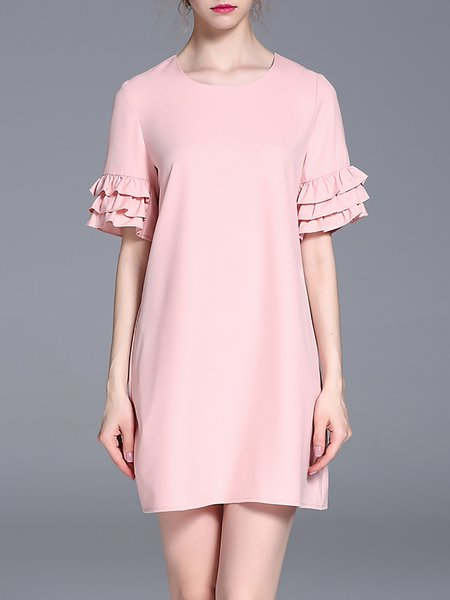 Pink Short Sleeve Crew Neck Ruffled Mini Dress
