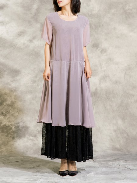 Pink Paneled Casual Lace Swing Maxi Dress