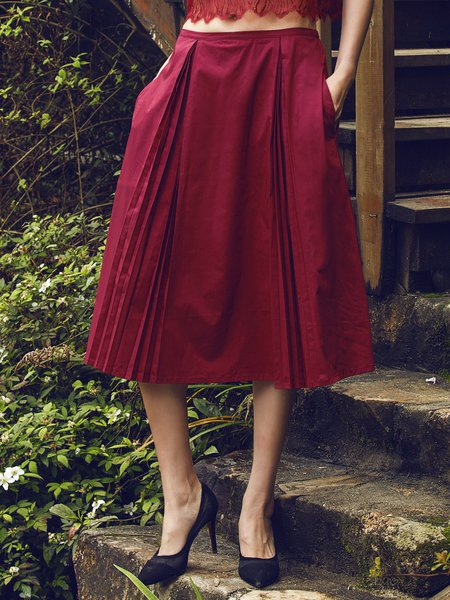 Wine Red Simple Pleated Midi Skirt