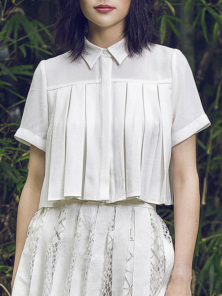 White Pleated Casual Cropped Top