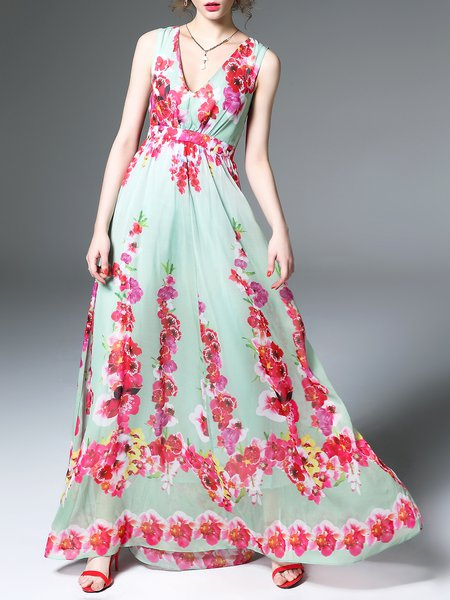 Multicolor Swing Sleeveless Floral-print Maxi Dress
