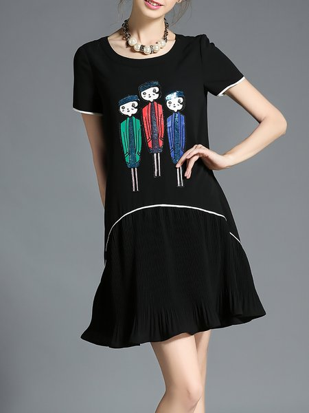 Black Short Sleeve Flounce Printed Crew Neck Mini Dress