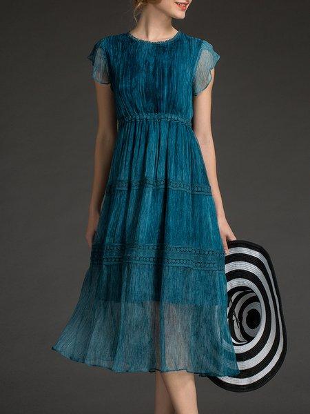 A-line Ruffled Casual Short Sleeve Midi Dress