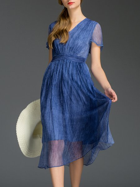 Blue Swing Short Sleeve V Neck Midi Dress