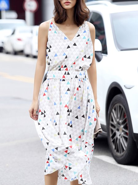 White Sleeveless Geometric Printed A-line Midi Dress