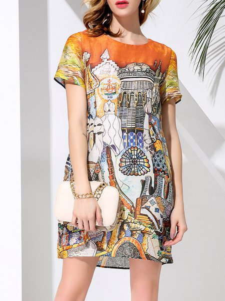 Shift Crew Neck Casual Short Sleeve Graphic Printed Mini Dress