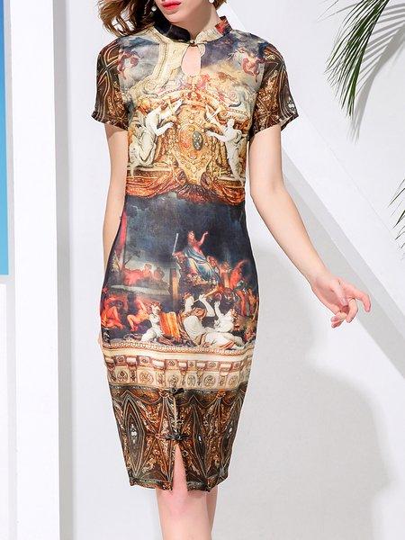 Multicolor Silk Printed H-line Vintage Midi Dress