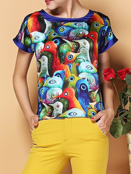 Multicolor Silk Abstract Printed Casual Short Sleeved Top