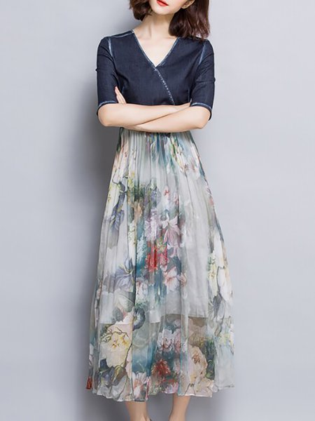 Swing Denim Elegant Floral Half Sleeve Midi Dress