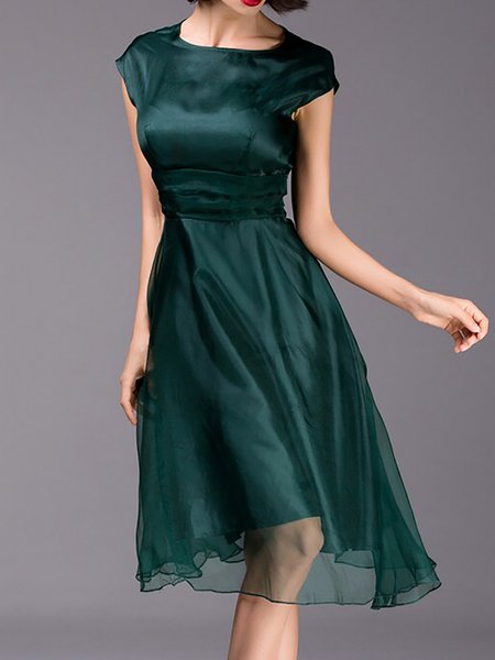 Dark Green Short Sleeve Crew Neck Swing Midi Dress