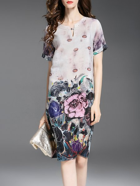 Silk H-line Short Sleeve Keyhole Vintage Midi Dress