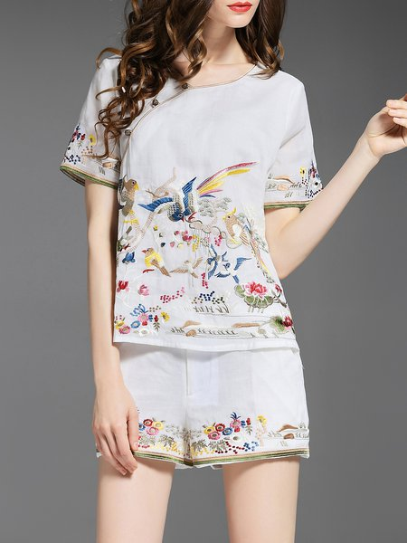 White Embroidered Cotton Casual Two Piece Romper