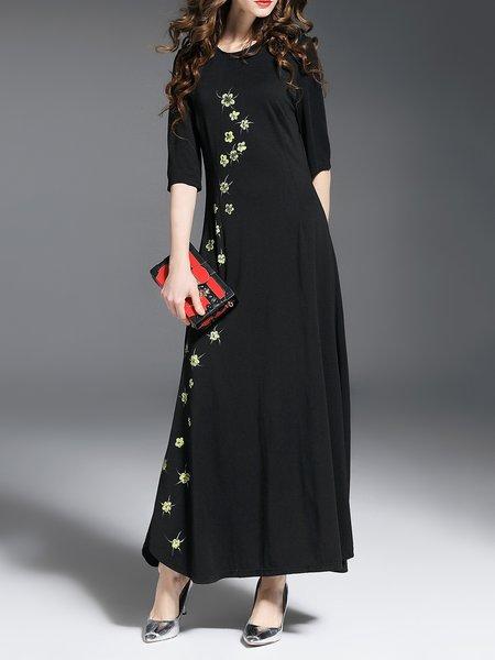 Black Half Sleeve Hand-drawn Maxi Dress